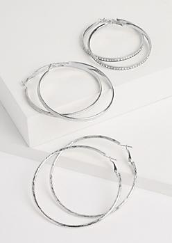 3-Pack Silver Oversized Sparkly Hoop Earrings