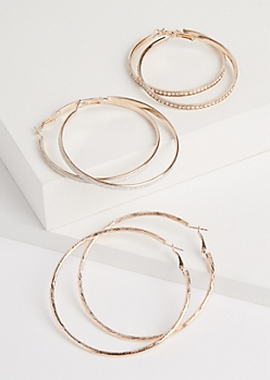 3-Pack Rose Gold Oversized Sparkly Hoop Earrings