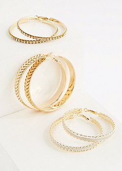 3-Pack Leaf Vine Hoop Earrings