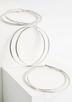 3-Pack Silver Metal Oversized Hoop Earring Set