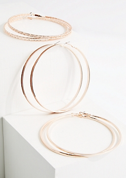 3-Pack Rose Gold Metal Oversized Hoop Earring Set