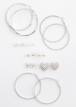 9-Pack Stone Heart & Hoop Earring Set