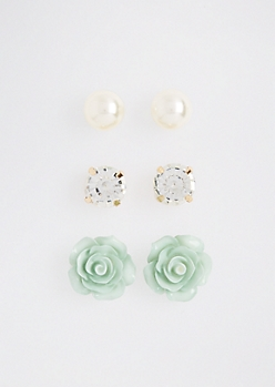 Mint Cake Flower Stud Trio