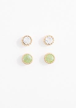 Mint Cubic Zirconia Stud Earring Duo