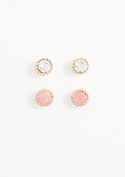 Peach Cubic Zirconia Stud Earring Duo