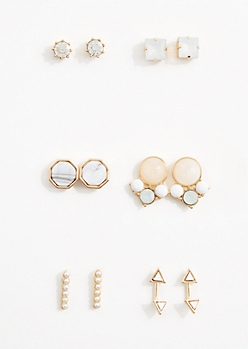 6-Pack Gold Tone Milky Stone Stud Set