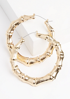Golden Metallic Bamboo Hoop Earrings