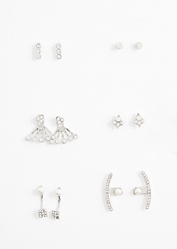 Shimmering Stone Burst Front/Back Earring Set