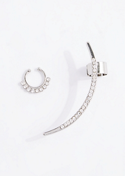 Crystal Arc Ear Crawler & Nose Ring Set