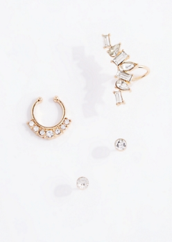 Faceted Gem Ear Crawler & Nose Ring Set