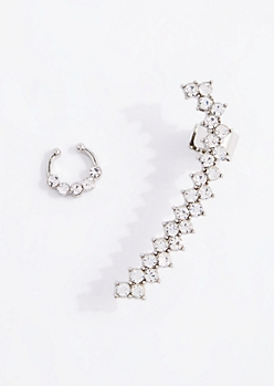 Crystal Nose Ring & Ear Crawler Set