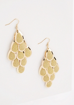 Metallic Gold Glittering Teardrop Earrings