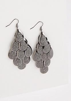 Hematite Glittering Teardrop Earrings