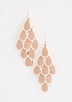 Rose Gold Glittering Teardrop Earrings