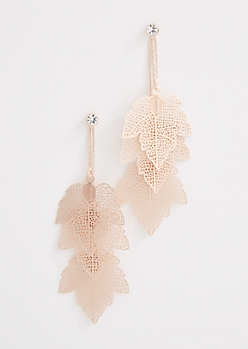 Maple Leaf Filigree Drop Earrings