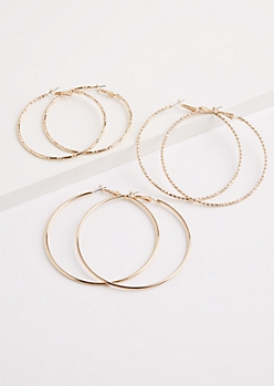 3-Pack Gold Metal Hammered Hoop Earrings