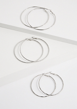 3-Pack Silver Metal Hammered Hoop Earrings