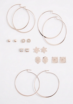 9-Pack Filigree & Hoop Earring Set