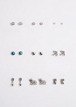 9-Pack Stone Elephant Stud Earring Set