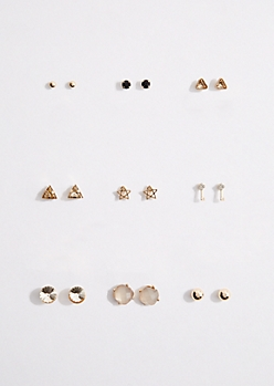 9-Pack Geo Stone & Stars Stud Earring Set