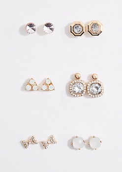 6-Pack Princess Stone Stud Earring Set