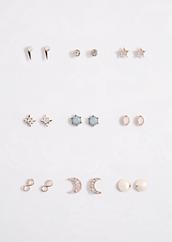 9-Pack Crescent & Star Stud Earring Set