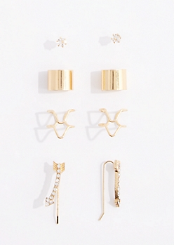 8-Pack Pave Arrow Geo Ear Cuff Set