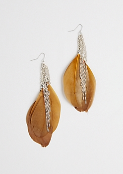 Brown Feather Drop Earring