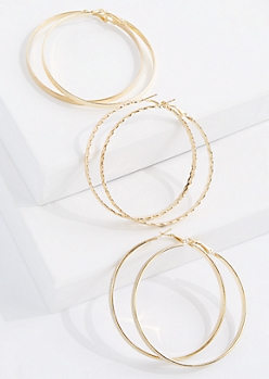 3-Pack Gold Leaf Hoop Earring Set