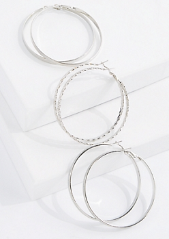 3-Pack Silver Leaf Hoop Earring Set