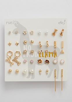 20-Pack Bows & Hearts Stud Earring Set