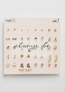 20-Pack Stars & Moon Earring Set