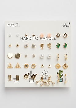20-Pack Desert Cactus Stud Earring Set