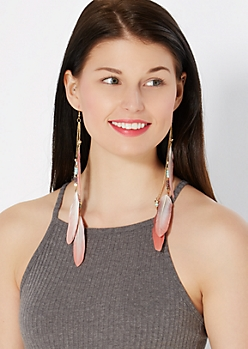 Brown Beaded Feather Drop Earring