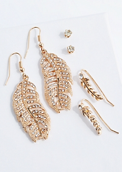 Embellished Leaf Earring Set