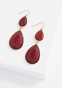 Burgundy Double Druzy Drop Earring