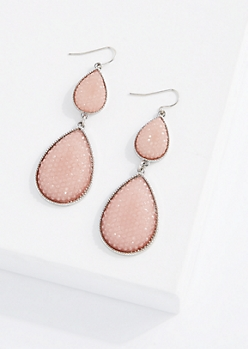 Pink Double Druzy Drop Earring