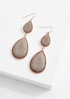 Mint Double Druzy Drop Earring