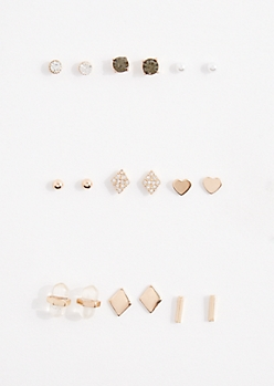 9-Pack Clear Prism Stud Earring Set
