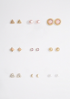 9-Pack Pretty in Pink Stud Earring Set