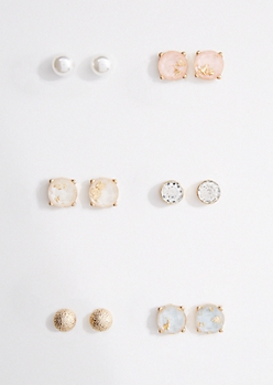 6-Pack Metallic Gemstone Earrings