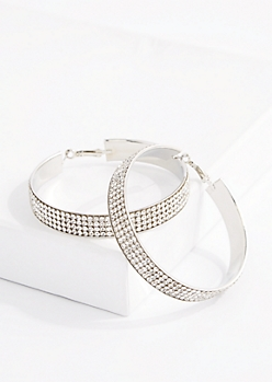 4-Row Diamante Banded Hoop Earrings