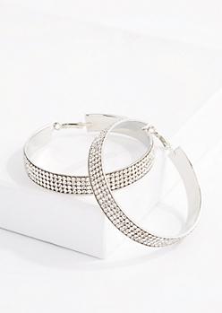 4-Row Diamante Banded Hoop Earrings