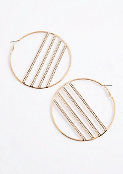 Diamante Banded Hoop Earrings
