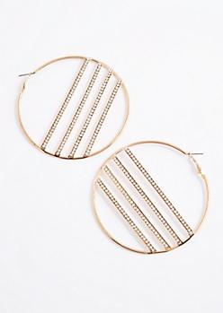 Diamante Banded Hoop Earrings