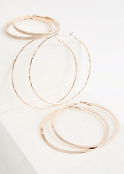 3-Pack Rose Gold Dusted Hoop Earring Set
