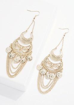 Filigree Coin Chandelier Earring