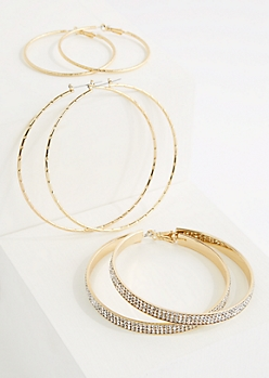 3-Pack Golden Stone Hoop Earring Set