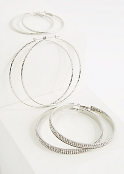 3-Pack Silver Stone Hoop Earring Set