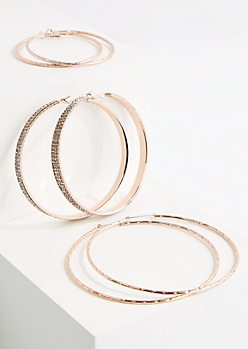 3-Pack Rose Gold Stone Hoop Earring Set